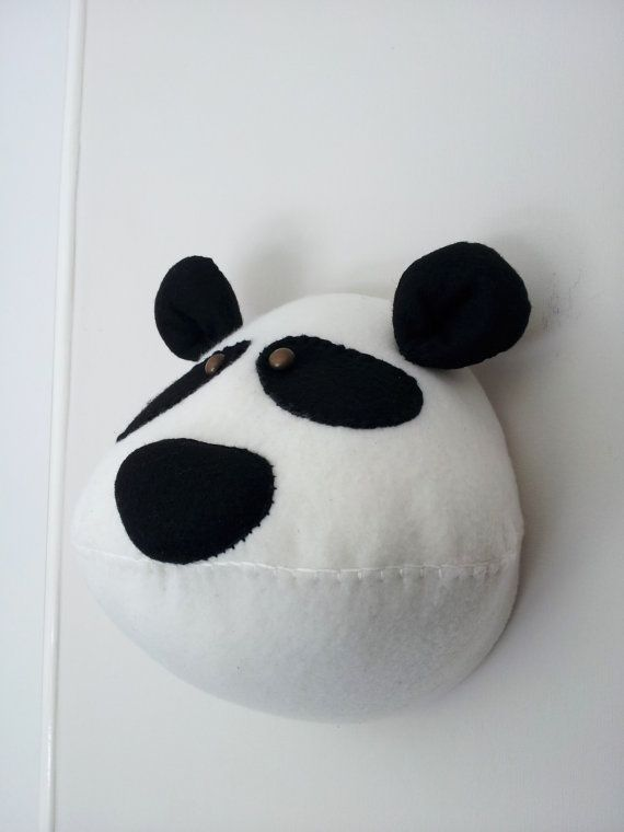 Wall Mounted Animal Heads in Fabric - Porthos Panda