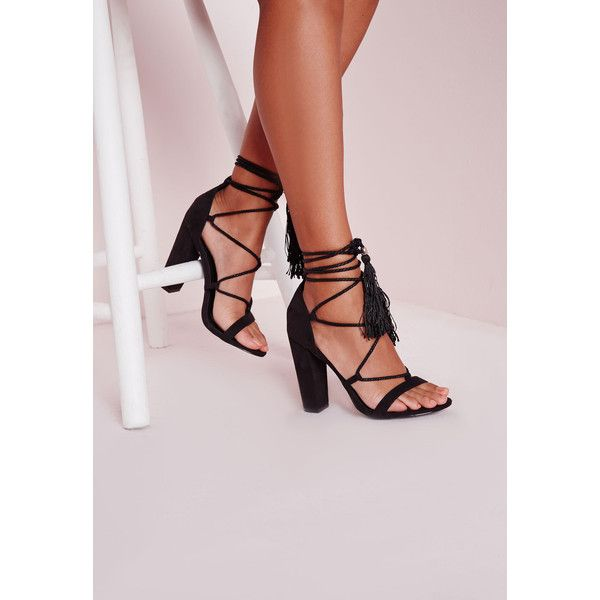 Missguided Lace Up Tassel Block Heeled Sandals ($60) ❤ liked on Polyvore featuring shoes, sandals, black, lace up sandals, high heel shoes, ankle wrap sandals, heeled sandals and famous footwear