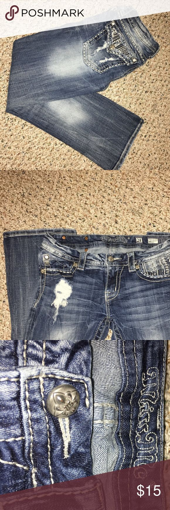 Miss Me jeans!! Size 28 miss me jeans! These were a Christmas gift but they no longer fit so I am looking for someone to take them off my hands!! Get you some bling bling jeans for super cheap!! Miss Me Jeans Boot Cut