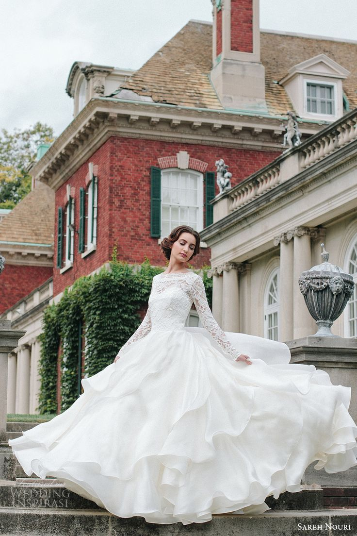 sareh nouri bridal fall 2016 long sleeves sweetheart illusion jewel neck a line ball gown wedding dress (mona lisa) mv elegant romantic