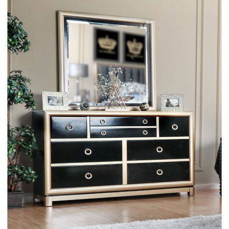 Furniture of America Baylor Contemporary Dresser and Mirror Set, Black & Gold