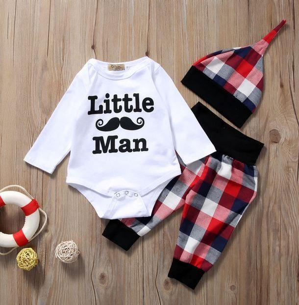LIttle Man 3 Pc Set - Boys Baby Set - Shower Gift - Coming Home Outfit - Boys Mustache Shirt Plaid Pants & Hat