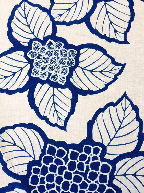 Vintage Japanese yukata cotton fabric panel Indigo Hydrangea