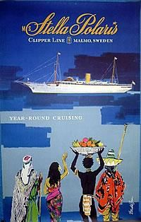 Ocean Liner Poster: Clipper Line - M S Stella Polaris , Country: Sweden , Artist: Donald Brun