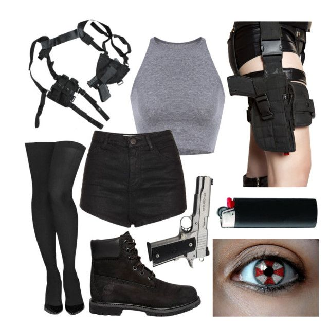 """resident evil halloween costume"" by slipknotandstarwarsarebae ❤ liked on Polyvore featuring Commando, Topshop and Timberland"
