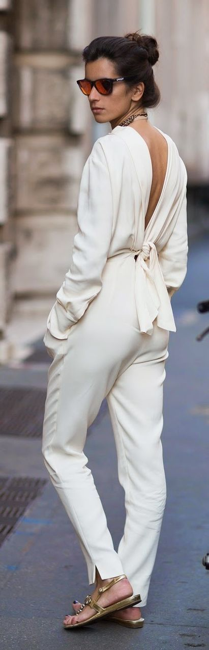 Cream Open Back Jumpsuit Chic Style