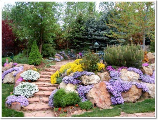 123 best images about slope garden on pinterest gardens for Sloped rock garden designs