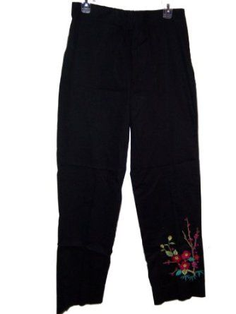 Side Zip Stretch Pants Floral Beaded Embroidery (8 Misses) Marisa. $70.00