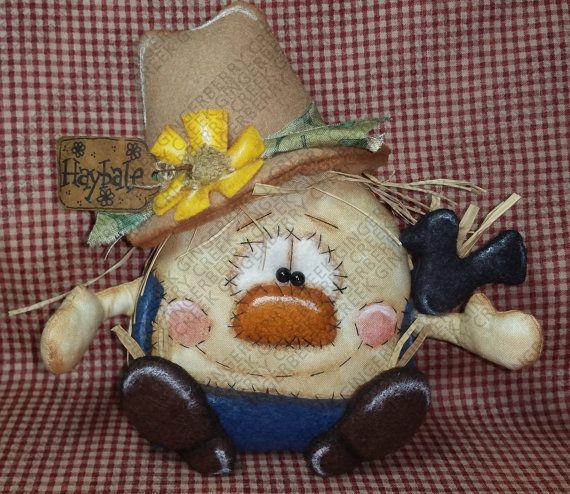 E-Pattern - Haybale the Scarecrow Pattern #202 - Primitive Doll/Ornie E-Pattern