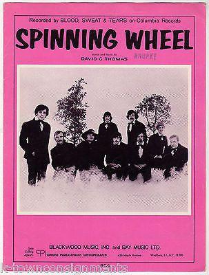 BLOOD SWEAT & TEARS SPINNING WHEEL VINTAGE COLUMBIA RECORDS SHEET MUSIC 1969