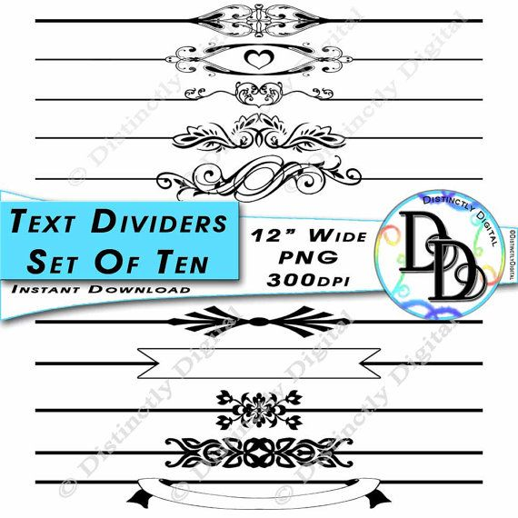 Black Text Dividers Digital Scrapbook Clipart Borders Printable Wedding Graphic Clip Art Commercial Use Instant Download File by DistinctlyDigital on Etsy
