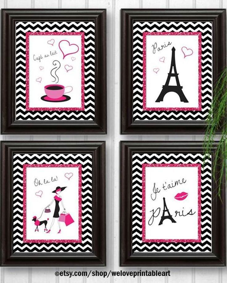 Paris Decor:  DIY - You print yourself! These hot pink glitter and black chevron posters are perfect for your Paris decor!  Instant download! You may print yourself, upload to an online print shop, or save on a jump drive for your local print shop.  https://www.etsy.com/listing/178433856/paris-decor-baby-girl-nursery-decor-art?ref=shop_home_active_1&ga_search_query=paris
