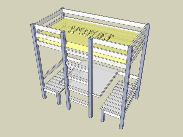 how to build a loft bed with desk and stairs