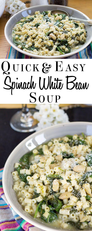 Quick & Easy Spinach, White Bean & Pasta Soup - Erren's Kitchen