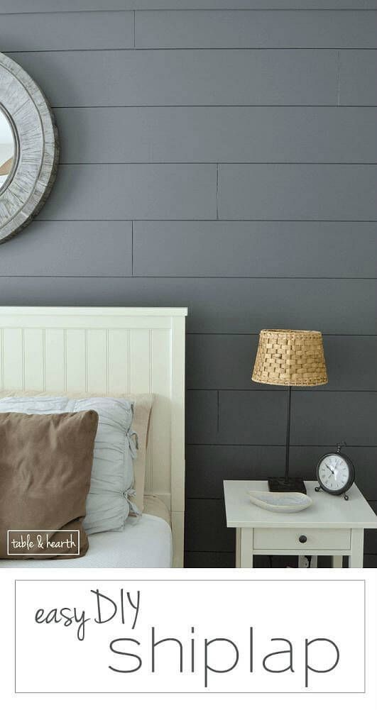 GORGEOUS!! Installing your own shiplap can be super easy! This is a great tutorial by Table & Hearth for how to install a DIY shiplap planked wall using simple plywood underlayment. www.tableandhearth.com