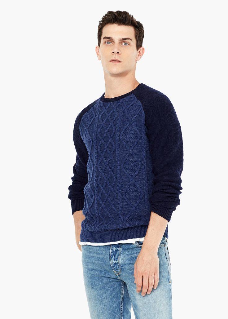 Camisola malha combinada - Camisolas de Homem | MANGO
