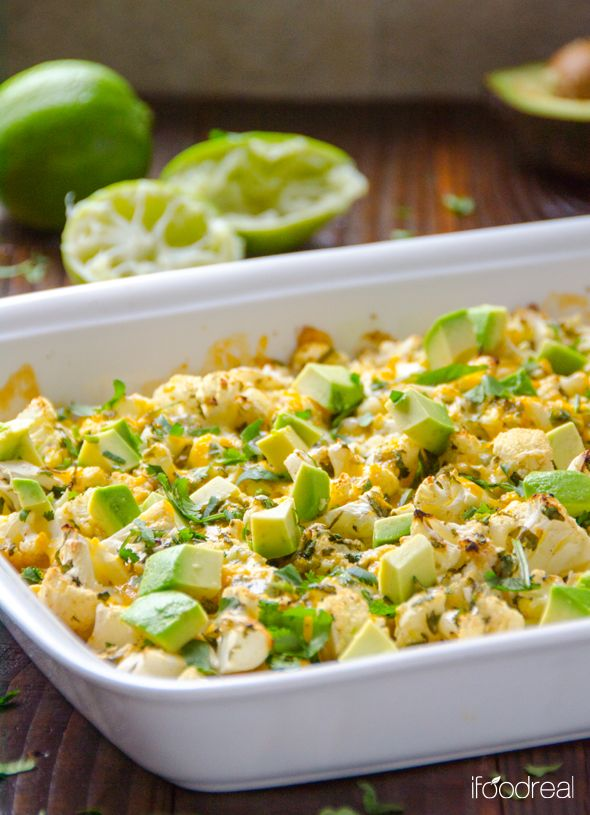 Tasty! Make again :) Cilantro Lime Cauliflower with Avocado -- Delicious baked cauliflower with Latin flavours - lime, cilantro, cumin and garlic. And it's cheesy.