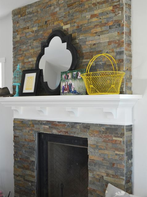 Slate Tile With Custom Wood Mantel http://www.ivillage.com/diy-ideas-try-update-your-fireplace/7-a-550284