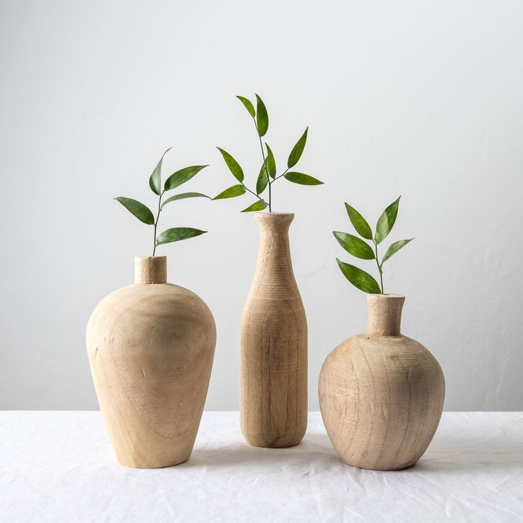 The Paulownia Wood Vase is a natural wooden vase that comes in three different shapes. These wood vases look great as a center piece with a fresh bloom or faux floral stem. Their unique wood grain add