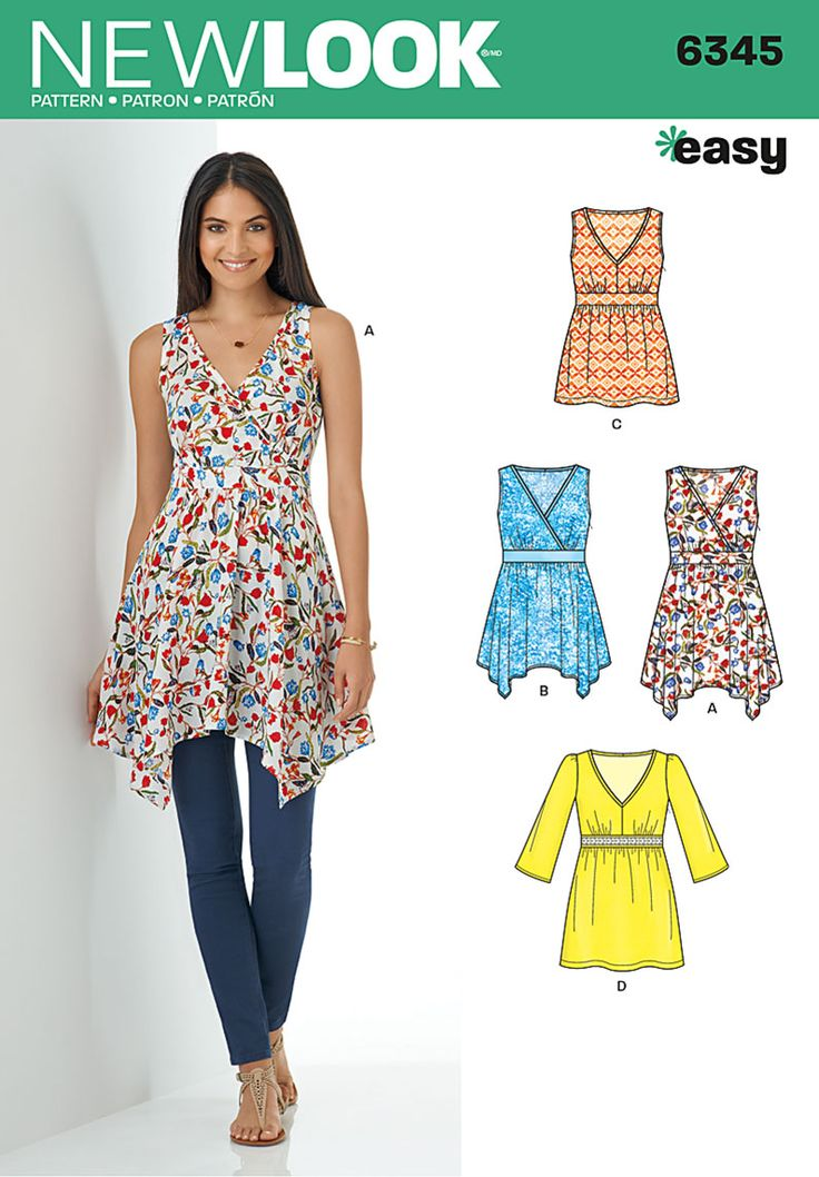 New Look Misses' V-Neck Tops with Length Variations 6345