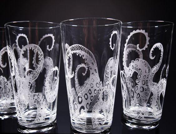 octopus tentacles drinking glass glassware set kraken etched engraved glass - Mason Jar Drinking Glasses