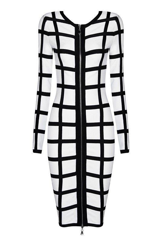 Black & White Long Sleeve Bandage Dress