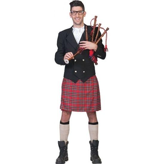 Schots kostuum voor heren. Dit Schotse heren kostuum bestaat uit een Schotse kilt, het jasje en de jabot.