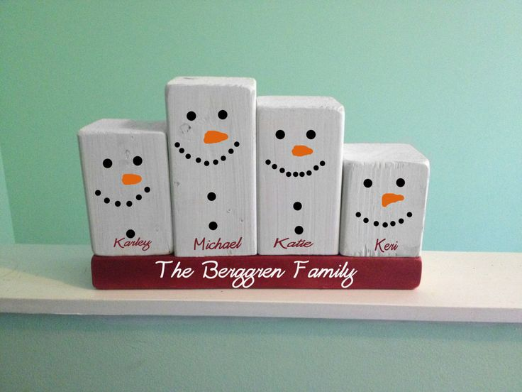 Snowman family wood block set by TheCraftyFriends on Etsy, $30.00