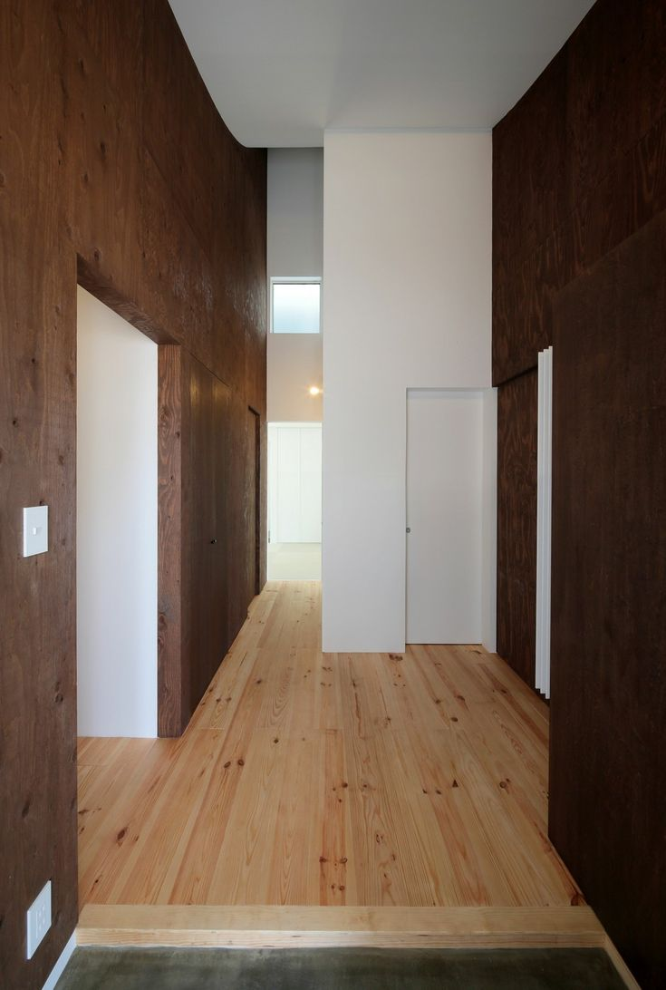 Japanese Style Room Family Residence In Yamagata Wooden Floors Dark Wood Walls Modern Japanese Architecture: Ingeniously Planned Two-Family House in Yamagata Prefecture, Japan