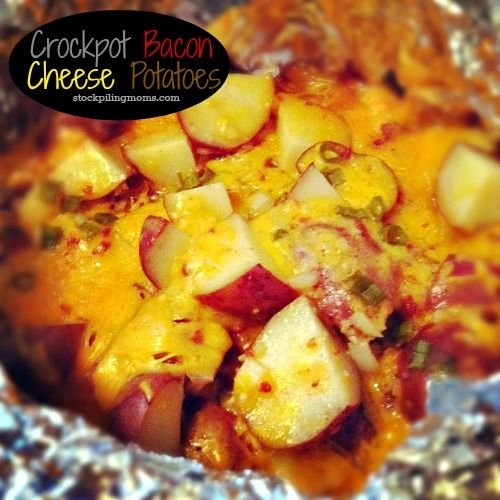 Crockpot Bacon Cheese Potatoes  http://www.stockpilingmoms.com/2012/12/crockpot-bacon-cheese-potatoes-2/