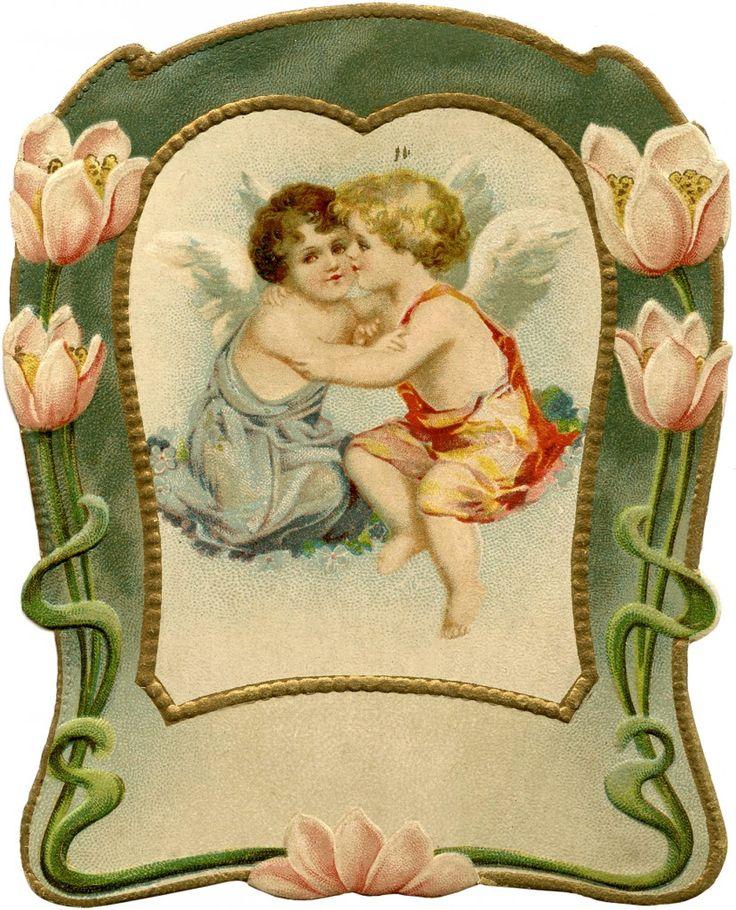 Vintage Art Nouveau Water Lily Frame ~ The Graphics Fairy