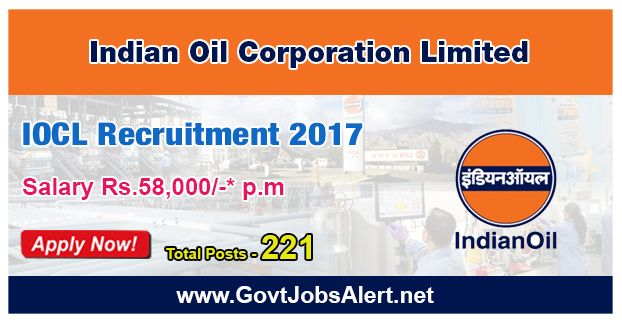 IOCL Recruitment 2017 - Hiring 221 Post Boiler Operation Engineers, Quality Control Officers and other Posts, Salary Rs.58,000/- : Apply Now !!!  The Indian Oil Corporation Limited – IOCL Recruitment 2017 has released an official employment notification inviting interested and eligible candidates to apply for the positions of Boiler Operation Engineers, Quality Control Officers, Fire & Safety Officers, Medical Officers, Human Resource Officers, Assistant Hindi Officers an