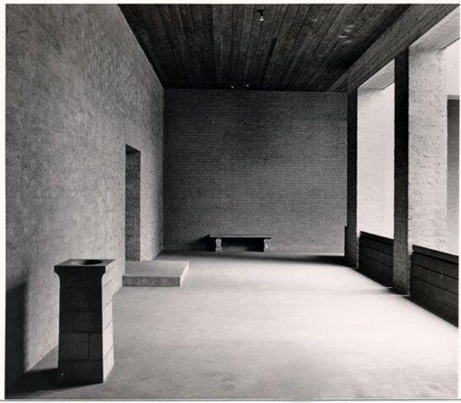 Photo of the upper story surrounding the patio of the Sint Benedictus abbey in Vaals, The Netherlands by Dutch monk-architect Dom Hans van der Laan [1904-1991]. Photo by Floris van der Poel