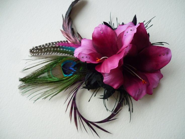 Rainbow Hair Clip - with Peacock & Pheasant feathers - Tribal Fusion Bellydance Fae Faery Wedding Boho Gypsy. £14.95, via Etsy.