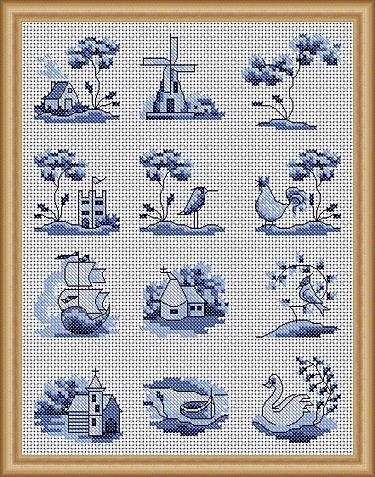 Blue Delft Motifs Cross Stitch Patterns - Instant Download