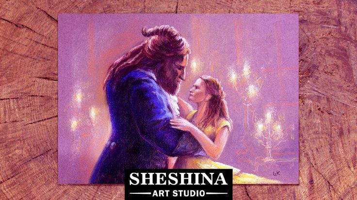 How to draw Beauty and the Beast (2017) with soft pastels  Sheshina Ekaterina