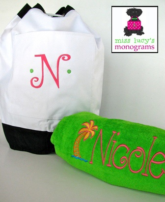 our monogrammed beach duffle and our xl luxurious monogrammed beach towel - Monogrammed Beach Towels