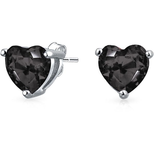 Bling Jewelry Blacken Heart Studs ($16) ❤ liked on Polyvore featuring jewelry, earrings, black, stud-earrings, heart jewelry, heart shaped earrings, imitation jewellery, earrings jewelry and heart stud earrings