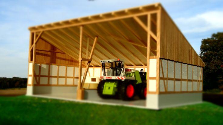 der gro e trecker unterstand aus holz maschinenhalle im ma stab 1 16. Black Bedroom Furniture Sets. Home Design Ideas