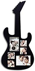 The ultimate rock star room decoration! Showcase your love of music with this beautiful, guitar-shaped collage. The black matte silhouette is perfect for displaying black and white concert memories or full-color photos of cherished performances. This frame will flatter your wall as the centerpiece in an eclectic bedroom arrangement, or as a stand-alone focal piece …