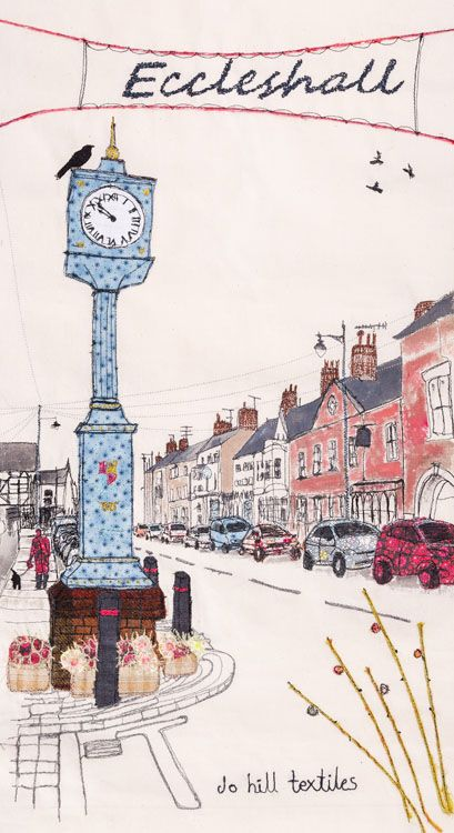 Eccleshall, Staffordshire,Tea towel print taken from an original embroidery.