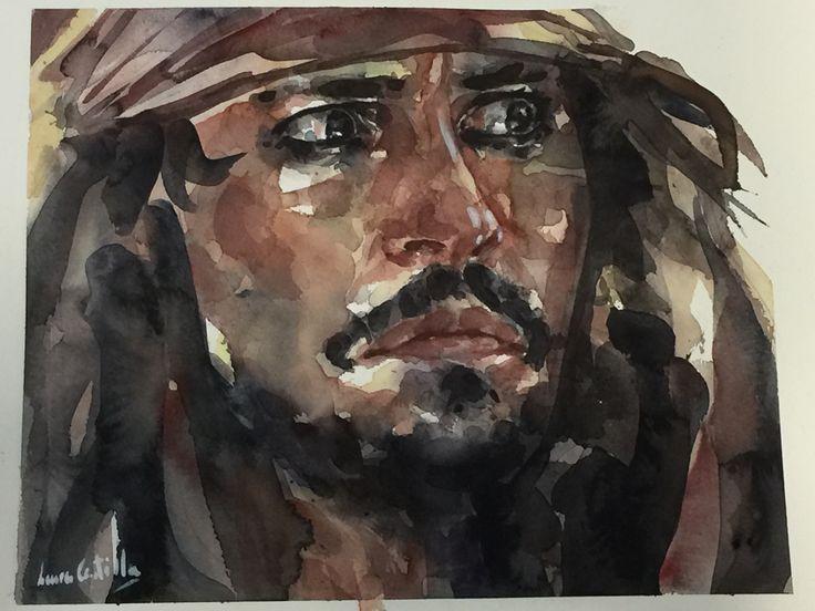 Retrato en acuarela de Jack Sparrow laura castilla