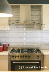 Pressed Tin Panels Brick Design Kitchen Splash Back Mercury Silver Powder Coat Range Hood