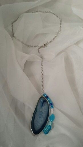 """Crystal clear & blue agate stone with blue & white glass bead accent!  Total length approx 19"""" Easily clip together with the double heart clasp.  stainedglasscountryhouse@gmail.com"""