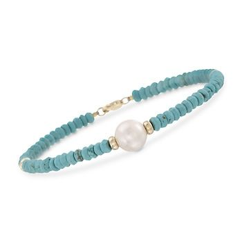 9-10mm Cultured Pearl and Turquoise Bead Bracelet in 14kt Yellow Gold. 7.25