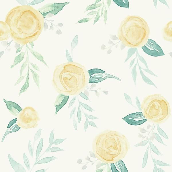 Magnolia Home By Joanna Gaines Watercolor Roses Paper Strippable Wallpaper Covers 56 Sq Ft Mk1127 The Home Depot In 2020 Watercolor Rose Rose Wallpaper Plant Wallpaper