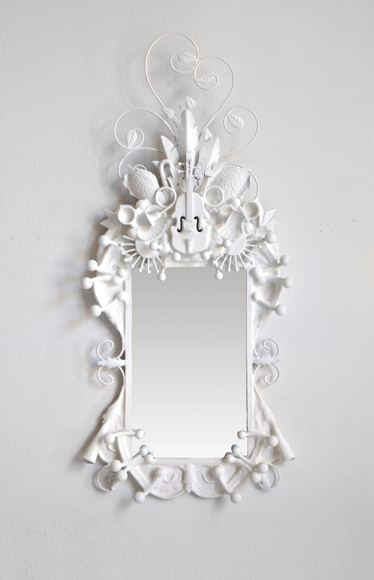 White Mirror  with Violin and Flowers and Scrolls - Ariosa -  Codor Design Objet Trouve Mirrors