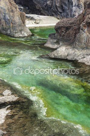 Естественные бассейны вулканической лавы в Порту Мониш — Стоковое изображение #78954716