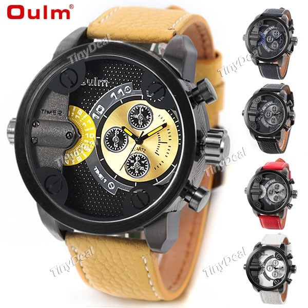 (OULM) 3130 Men's Genuine Leather Watch with 2-Movt Quartz Watch Dial Wrist Watch Wristwatch Timepiece WWT-286308