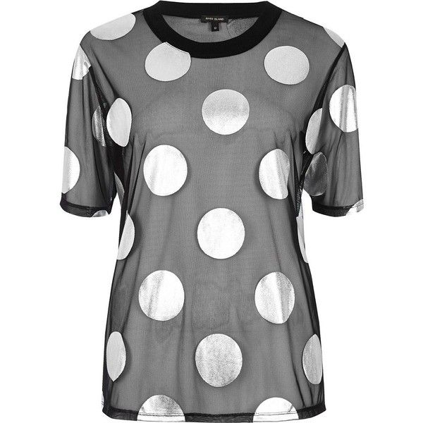 River Island Black polka dot mesh boxy T-shirt (£42) ❤ liked on Polyvore featuring tops, t-shirts, black, print t-shirts / tanks, t shirts / tanks, women, pattern t shirt, oversized tee, print tees and crew neck tee